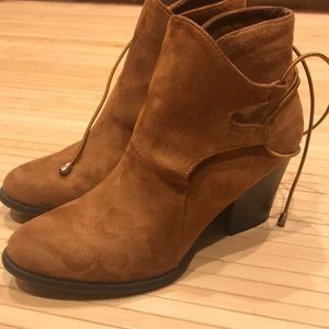 Faux suede brown booties